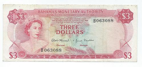 Bahamas - 3 Dollars - 1968