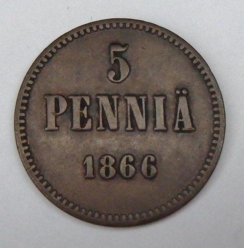 Finland - 5 Pennia - 1866