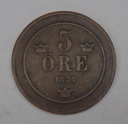 Sweden - 5 Ore - 1874