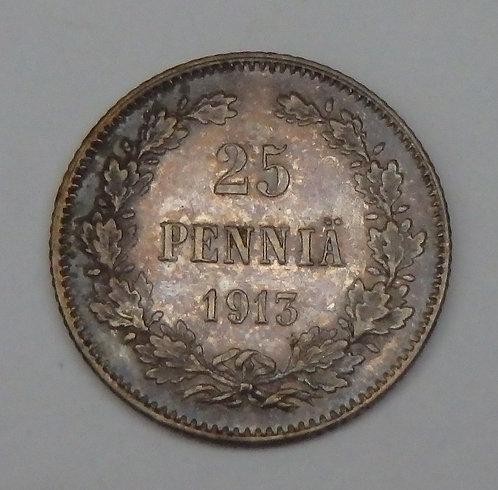 Finland - 25 Pennia - 1913S