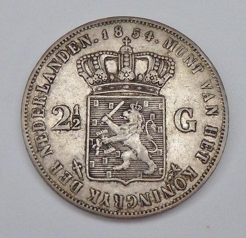 Netherlands - 2 1/2 Gulden - 1854