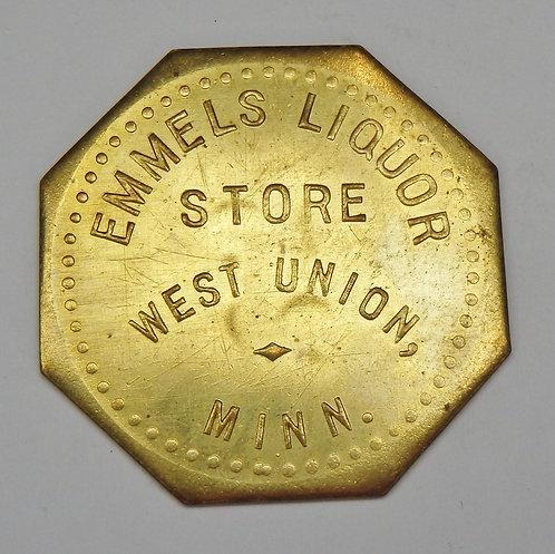 Minnesota, West Union - Emmels Liquor Store Token