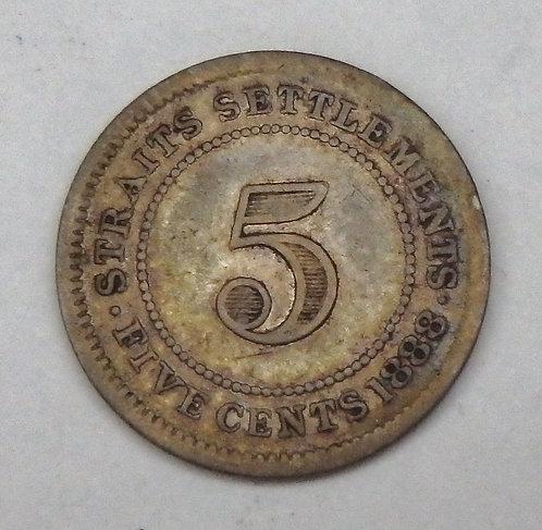 Straits Settlements - 5 Cents - 1888