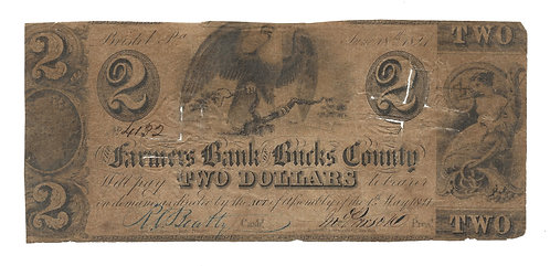 1841 The Farmers Bank of Bucks County - Bristol, PA - $2 Note