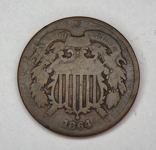 1864 Large Motto Two Cent Coin