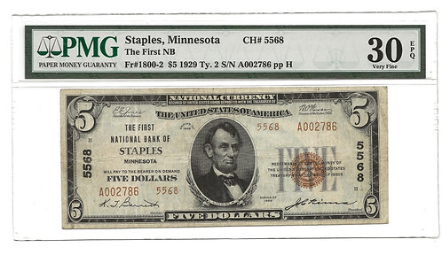 National Bank Note - Staples MN