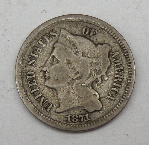 1871 Three Cent Nickel
