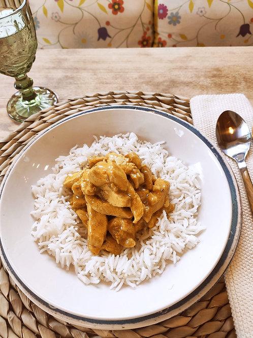 Pollastre Tikka Masala amb guarnició d'arròs basmati. 1 ració