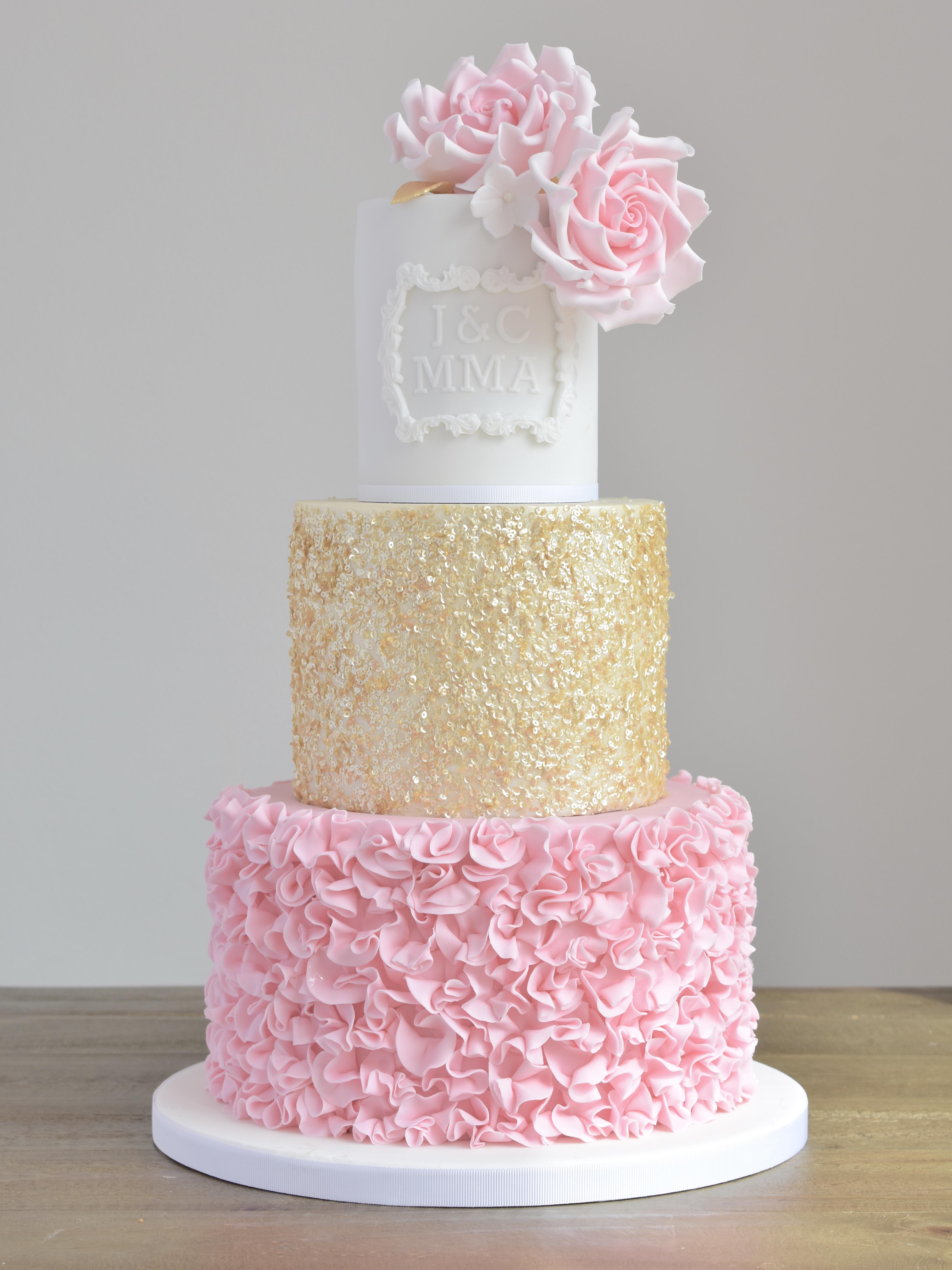 pink gold ruffles cake