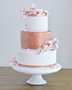rose gold blossom wedding cake