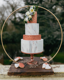 copper marble wedding cake