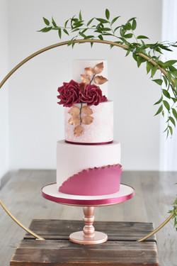 burgundy blush wedding cake