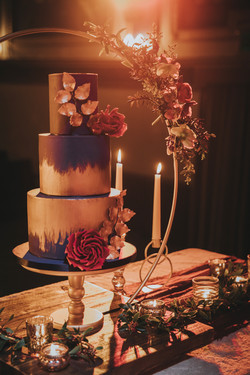 theatre navy wedding cake