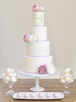 dusky lilac wedding cake