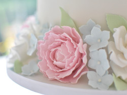 peonies and roses wedding cake