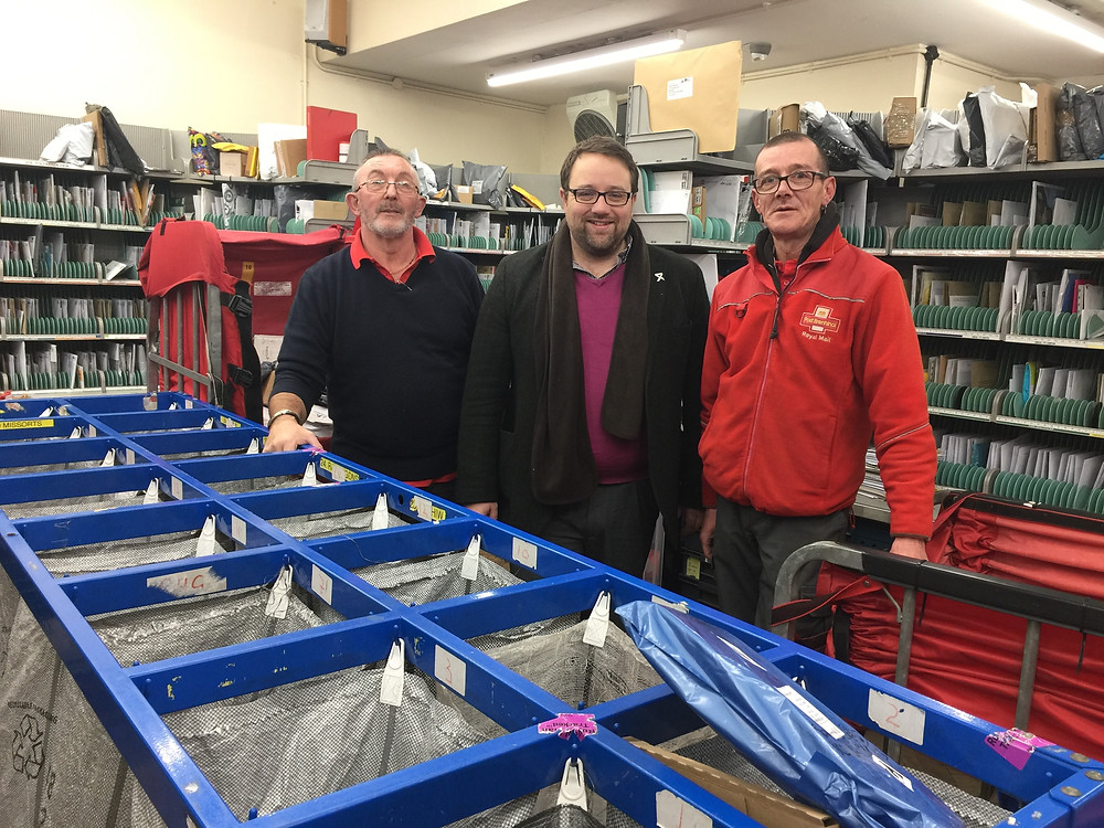 MP Chris Elmore visits Maesteg sorting office