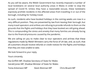 Ogmore MP calls on UK Government to ensure Ogmore's locked-down residents can obtain holiday refunds