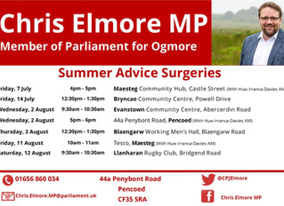 Chris Elmore MP Summer Advice Surgeries Released