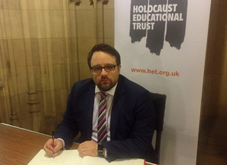 Chris Elmore MP signs Holocaust Educational Trust Book of Commitment