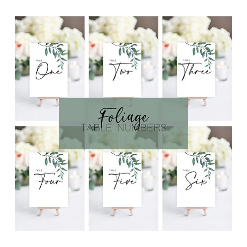 Foliage Table Numbers