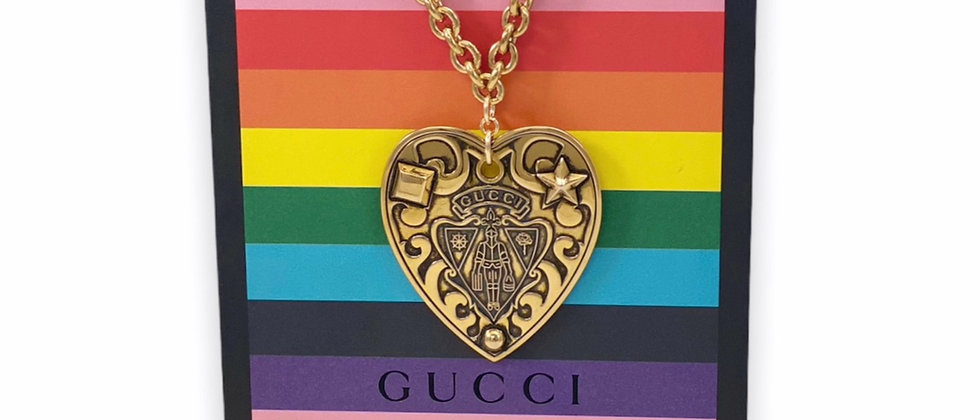 Repurposed Vintage HUGE Gucci Knight Crest Hysteria Heart RARE Choker Necklace