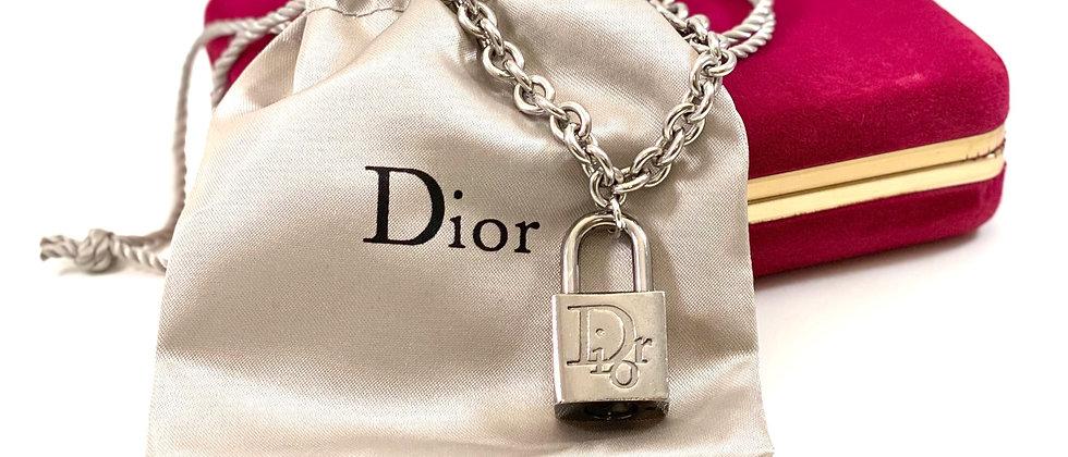 Repurposed Vintage Silver Dior Lock Choker Necklace