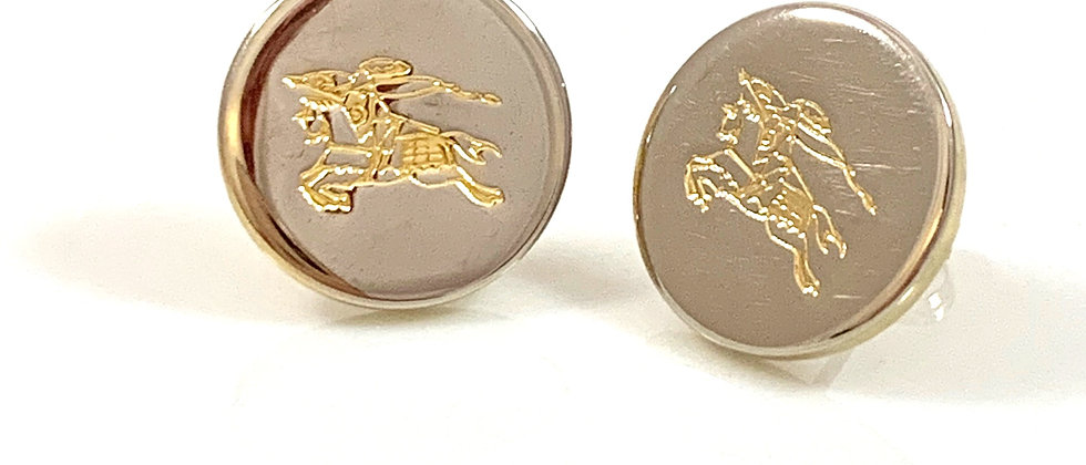 Repurposed Burberry Knight Small Gold Button Earrings