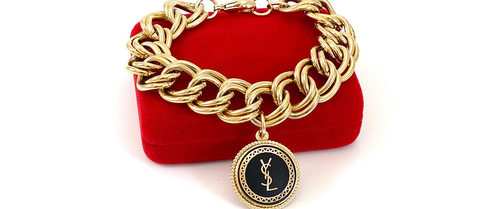 Repurposed YSL Large Charm & Chunky Link Gold Bracelet
