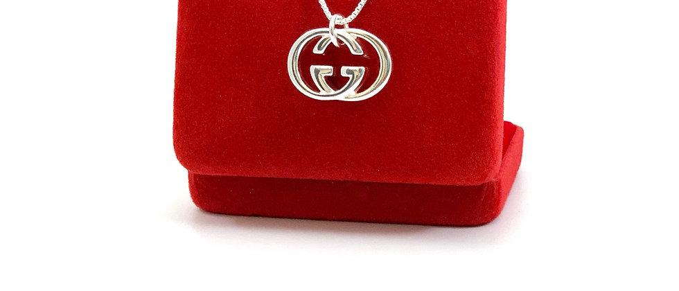 Repurposed Gucci Sterling Silver Medium GG Logo Charm Necklace