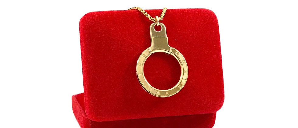 Repurposed Louis Vuitton Large Gold Ring Charm Necklace