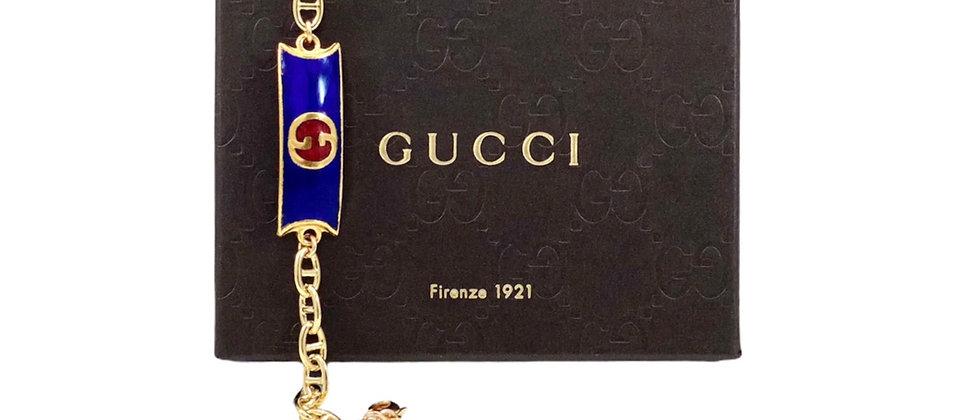 Vintage 1970's Repurposed Blue Enameled Gucci Plate Bracelet