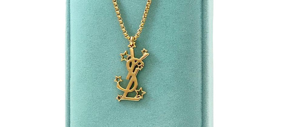 Repurposed Saint Laurent Rare YSL Logo & Stars Charm Necklace
