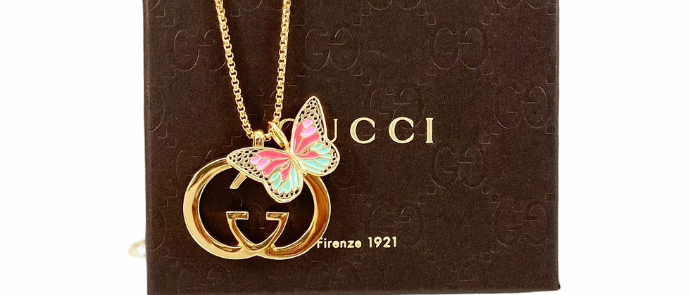 Repurposed Vintage Gucci Large Gold GG & Removable Butterfly Necklace
