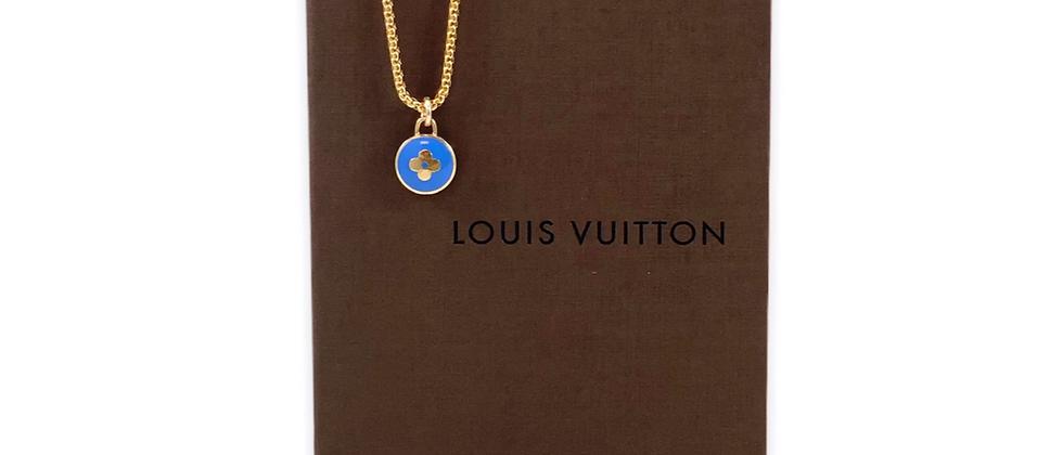 Repurposed Louis Vuitton Blue & Gold Flower Pastilles Charm Necklace