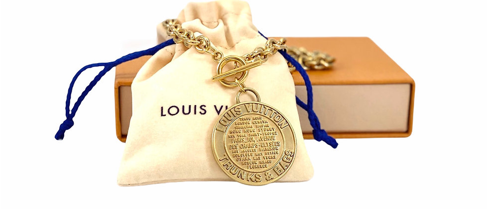 Repurposed Louis Vuitton XL Matte Gold Charm Toggle Choker Necklace