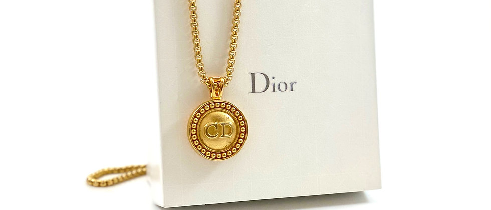 Vintage Repurposed Gold Dior CD Logo Large Charm Necklace
