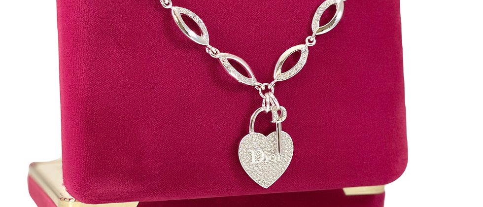 Repurposed Dior Silver Rhinestone Heart & Key Charm Choker