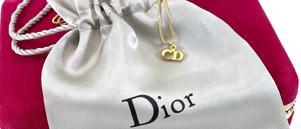 Repurposed Christian Dior Petite CD Charm Necklace