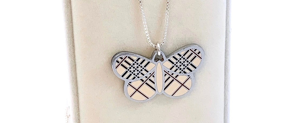 Repurposed Burberry Nova Check Silver Large Butterfly Charm Necklace