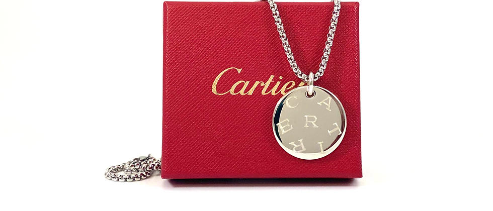 Repurposed Sterling Cartier Medium Round Logo Charm Necklace