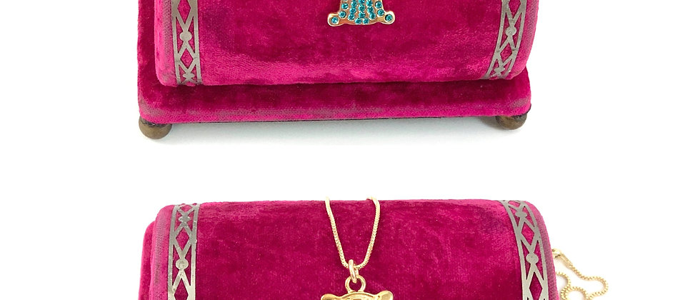 Repurposed Vintage Gold & Aqua Crystal Double Sided Logo Charm Necklace