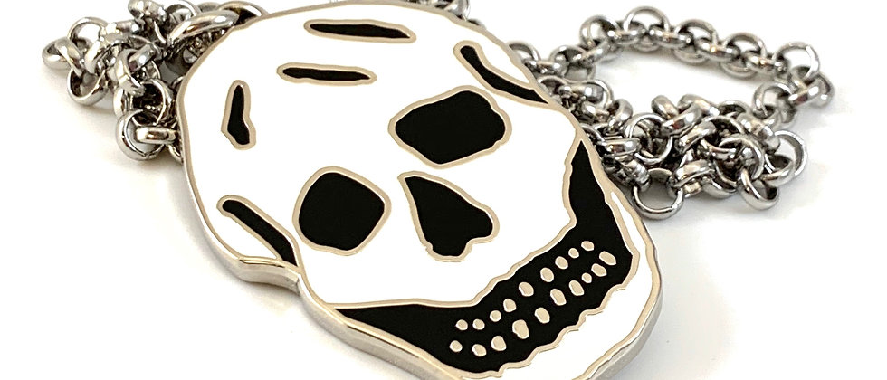 Repurposed  Alexander McQueen Black & White Enamel Skull Necklace