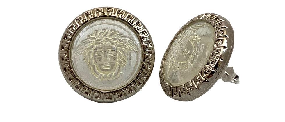 Vintage Repurposed Silver & Transparent Resin Versace Medusa Earrings