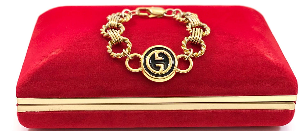 Repurposed Large Black & Gold Gucci GG Chunky Bracelet