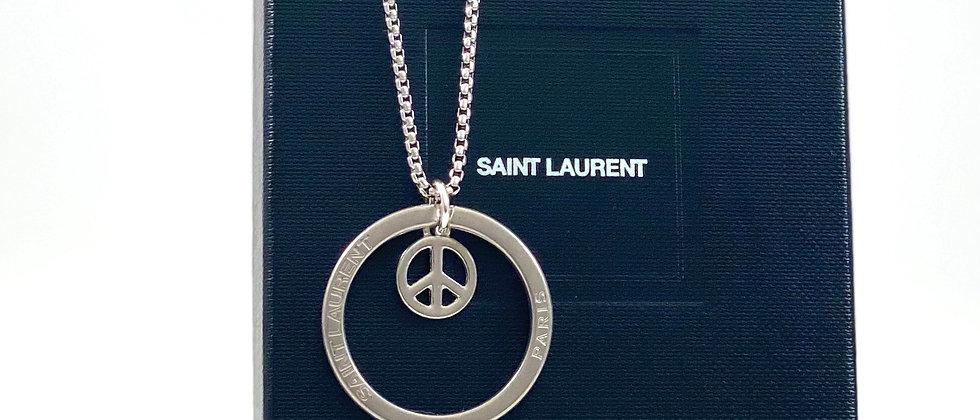 Repurposed Saint Laurent Paris Ring Charm Necklace w/Peace Sign