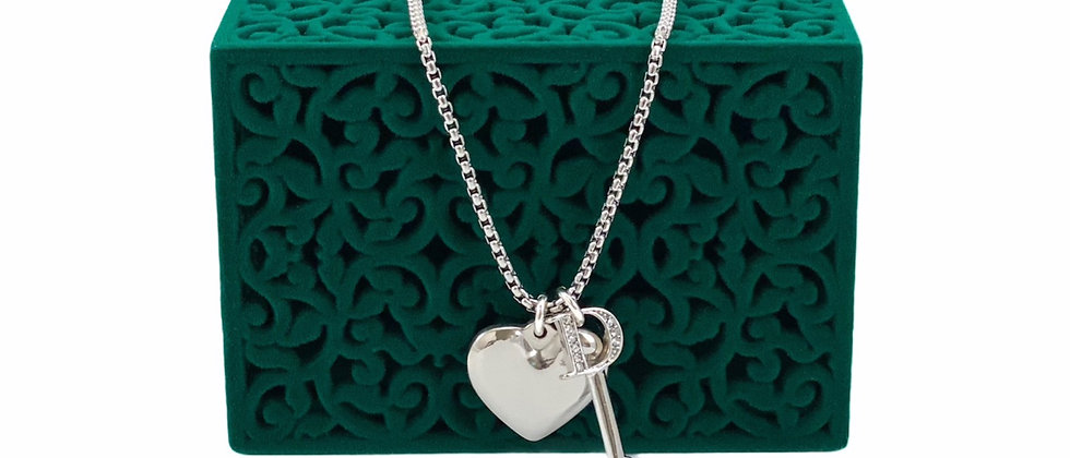 Repurposed Christian Dior Sterling Silver D Key & Puffed Heart Charm Necklace