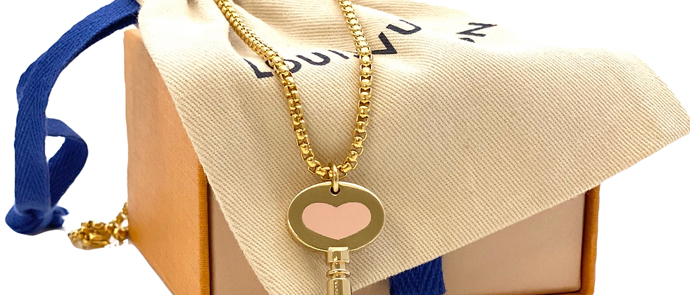 Repurposed Louis Vuitton Rare Large Pink Heart Skeleton Key Charm Necklace