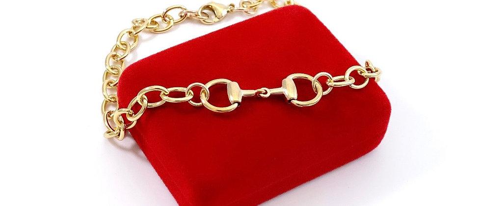 Repurposed Vintage Gucci Small Gold Horsebit Choker Necklace