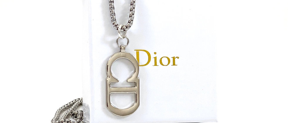 Vintage Repurposed Large Silver Christian Dior CD Charm Necklace