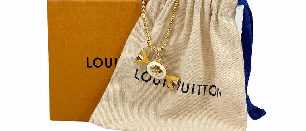 Repurposed Louis Vuitton Yellow & White Enamel Candy Charm Necklace